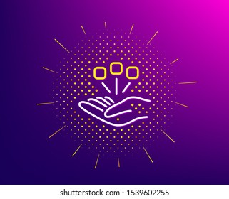 Consolidation line icon. Halftone pattern. Business strategy sign. Gradient background. Consolidation line icon. Yellow halftone pattern. Vector