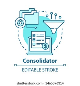 Consolidator concept icon. Billing idea thin line illustration. Debt consolidation. Combining orders. E-commerce. Financial service. Vector isolated outline drawing. Editable stroke