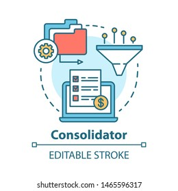Consolidator concept icon. Billing idea thin line illustration. Combining orders. Debt consolidation. E-commerce. Financial service. Vector isolated outline drawing. Editable stroke