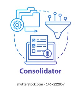 Consolidator concept icon. Billing idea thin line illustration. Combining orders. Debt consolidation. Financial service. Vector isolated outline drawing. E-commerce. Editable stroke