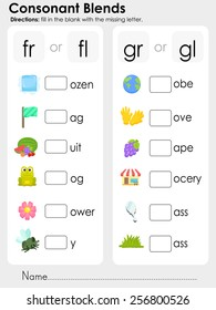 Consonant Blends : fill in the blank with the missing letter - Worksheet for education