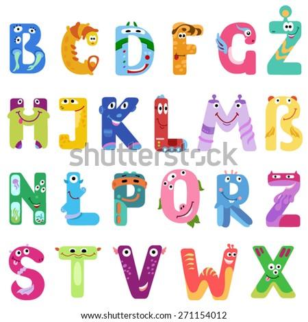 consonants latin alphabet like different monsters stock vector