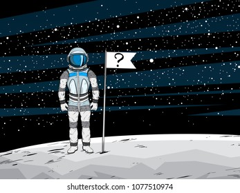 Conspiracy theory. Astronaut with unrecognizable flag on lunar surface