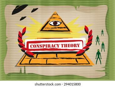 Conspiracy Theory concept. Editable Clip Art.