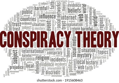 Conspiracy theory vector illustration word cloud isolated on a white background.