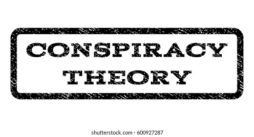 Conspiracy Theory watermark stamp. Text tag inside rounded rectangle with grunge design style. Rubber seal stamp with dirty texture. Vector black ink imprint on a white background.