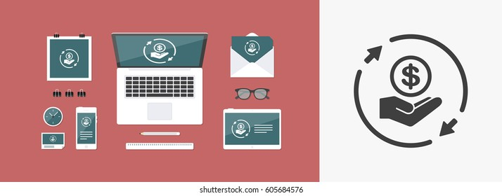 Constant exchange banking services - Vector web icon