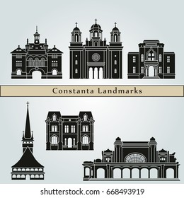Constanta landmarks and monuments isolated on blue background in editable vector file