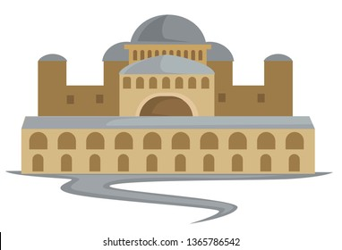 Constantinople architecture Byzantium ancient building capitol isolated construction vector Byzantine landmark antique country center towers and walls with arches round domes and path to entrance