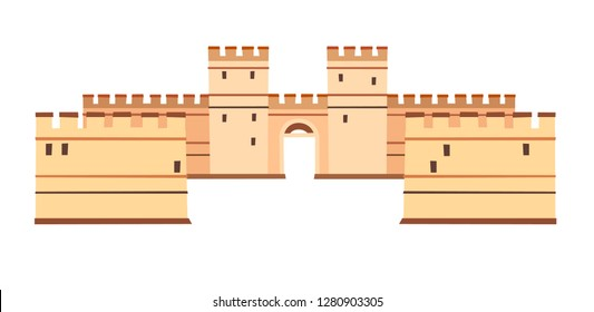 Constantinople walls vector icon. Istanbul landmarks, isolated on white background