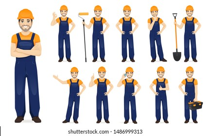 Constarction worker. Man in blue overalls set with different gestures isolated vector illustration