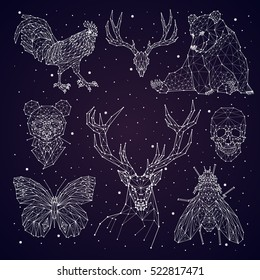 constellation. bear, panda, deer, skull, butterfly, fly, rooster