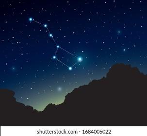 Constellation Big Dipper in deep space