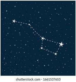 Constellation of Big Dipper in night starry sky. Vector stock illustration in cartoon style. Can be used as planetarium poster, postcard.