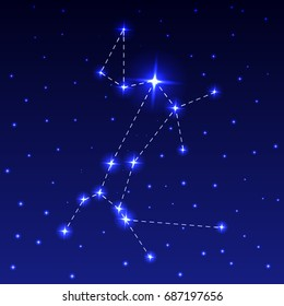 The Constellation of the Big Dog in the night starry sky. Vector illustration of the concept of astronomy
