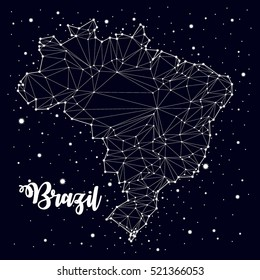 constellation. Brazil maps, vector