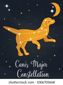 "The constellation ""Canis Major"" star in the night sky with the dog silhouette. Vector illustration"