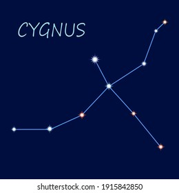 The constellation Cygnus with the observance of the colors and sizes of the stars. Icon, logo.