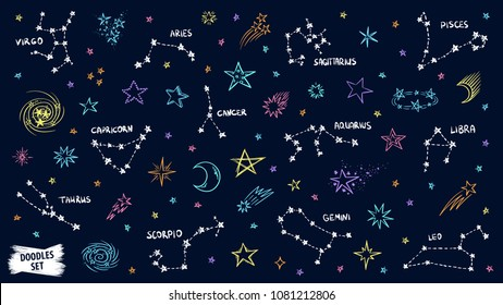 Constellation doodles. Zodiac sign. Stars sketch. Zodiac symbols. Constellation set. Cosmic. Space. Virgo. Aquarius. Libra. Capricorn. Aries. Gemini. Pisces. Cancer. Scorpio. Leo. Taurus. Sagittarius.