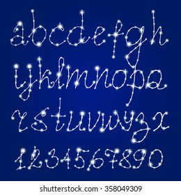 Constellation Font. Latin Alphabet Vector Set