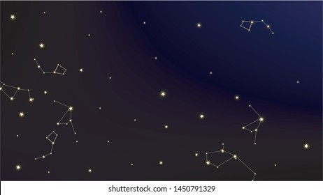 Constellation Map. Astronomical Print. Beautiful Cosmic Sky with Many Stars.     Dark Blue Galaxy Pattern. Vector Sky Cosmos Background.