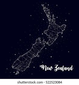 constellation. New Zealand map