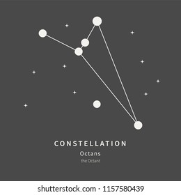The Constellation Of Octans. The Octant - linear icon. Vector illustration of the concept of astronomy