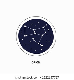 Constellation Orion on a blue round background, vector illustration