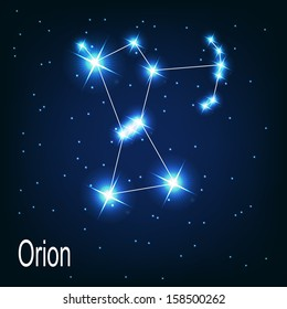 """The constellation """"Orion"""" star in the night sky. Vector illustration"""