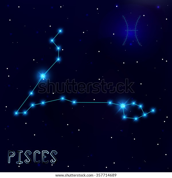0034bc61e The Constellation Of Pisces. Starry sky. Dark blue background of space. Bright  shining