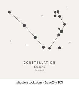 The Constellation of Serpens. The Serpent - linear icon. Vector illustration of the concept of astronomy