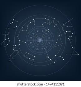 Constellation sky with stars. Vector illustration.