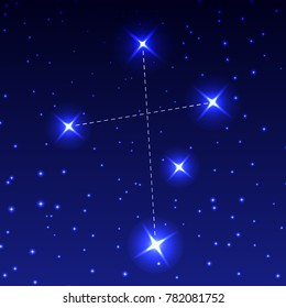 The Constellation Southern Cross in the night starry sky. Vector illustration of the concept of astronomy