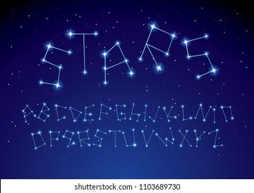 constellation/ stars typography design vector