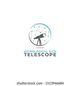 Constellation Telescope logo vector icon illustration