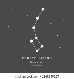The Constellation Of Ursa Minor. The Lesser Bear - linear icon. Vector illustration of the concept of astronomy