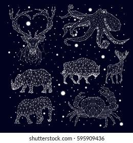 Constellations deer, bison, elephant, rhinoceros, crab, elephant, octopus, vector