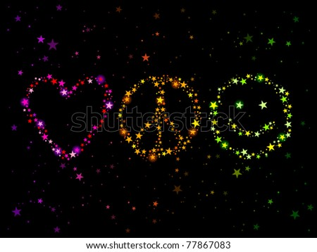 Constellations Forming Love Peace Happiness Symbols Stock Vector