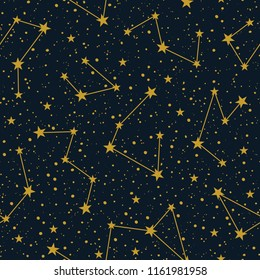Constellations on dark starry sky vector seamless pattern. Winter Christmas holiday background. Hand drawn space texture.