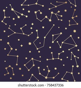 Constellations seamless pattern. Golden stars. Vector illustration.