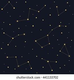 Constellations seamless pattern. Ursa Major Big Dipper, Cassiopeia on dark night sky background.