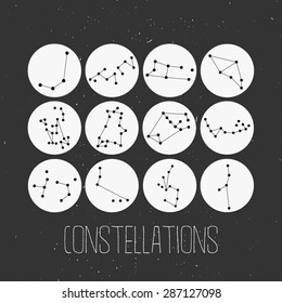 constellations of stars on grungy background. Vector isolated abstract design element for greeting cards, posters and print invitations.