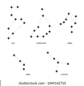 Constellations vector. Zodiac sign. Constellations in space