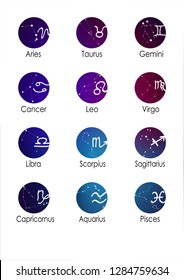 Constellations of the zodiac. Zodiac signs set of illustrations on the background of a stellar nebula.  constellation was his symbol and the name, round icon