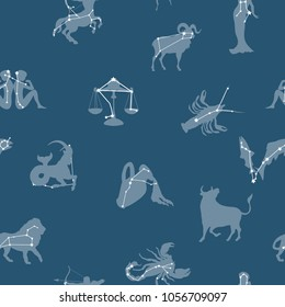 Constellations zodiac signs and stars seamless vector pattern background