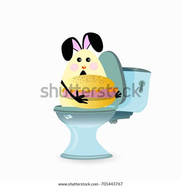 Constipation Concept Funny Funny Hare On Stock Vector Royalty Free 705443767