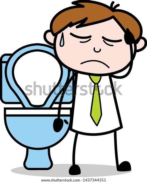 Constipation Problem Office Salesman Employee Cartoon Stock Vector Royalty Free 1437344351