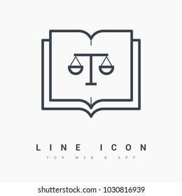 constitution book balance line vector icon