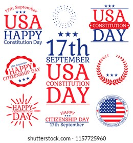 Constitution Day and Citizenship Day in USA. Collection labels, icons, emblems eith letering. Decorative elements, set of greetings or elemants for banner , paper, decorative background with lettering