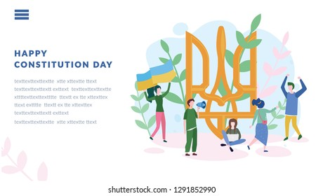 Constitution day in Ukraine, flag blue and yellow, National holiday in Ukraine 28th of June, vector illustration, greetings card